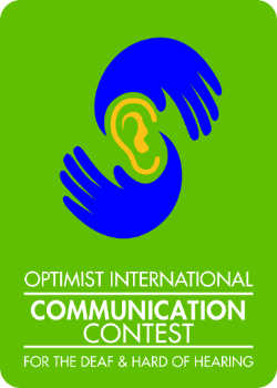 logo for the Optimist Communication Contest for the Deaf and Hard of Hearing - win scholarship money